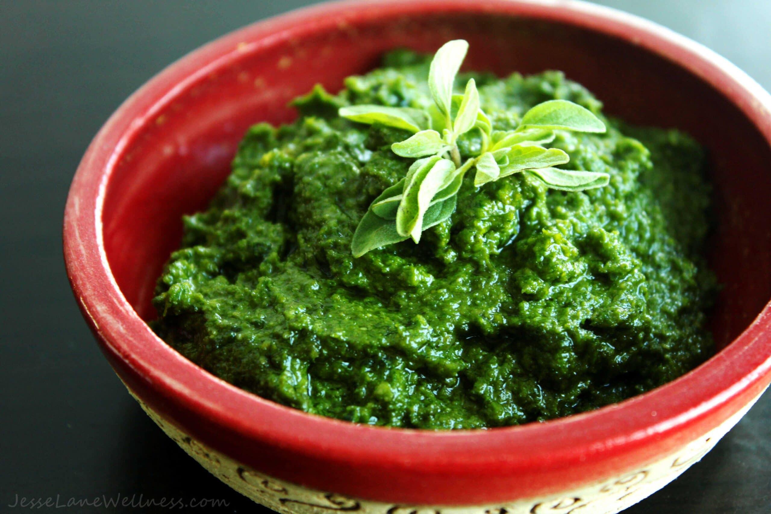 Kale Oregano Pesto by @JesseLWellness #pesto