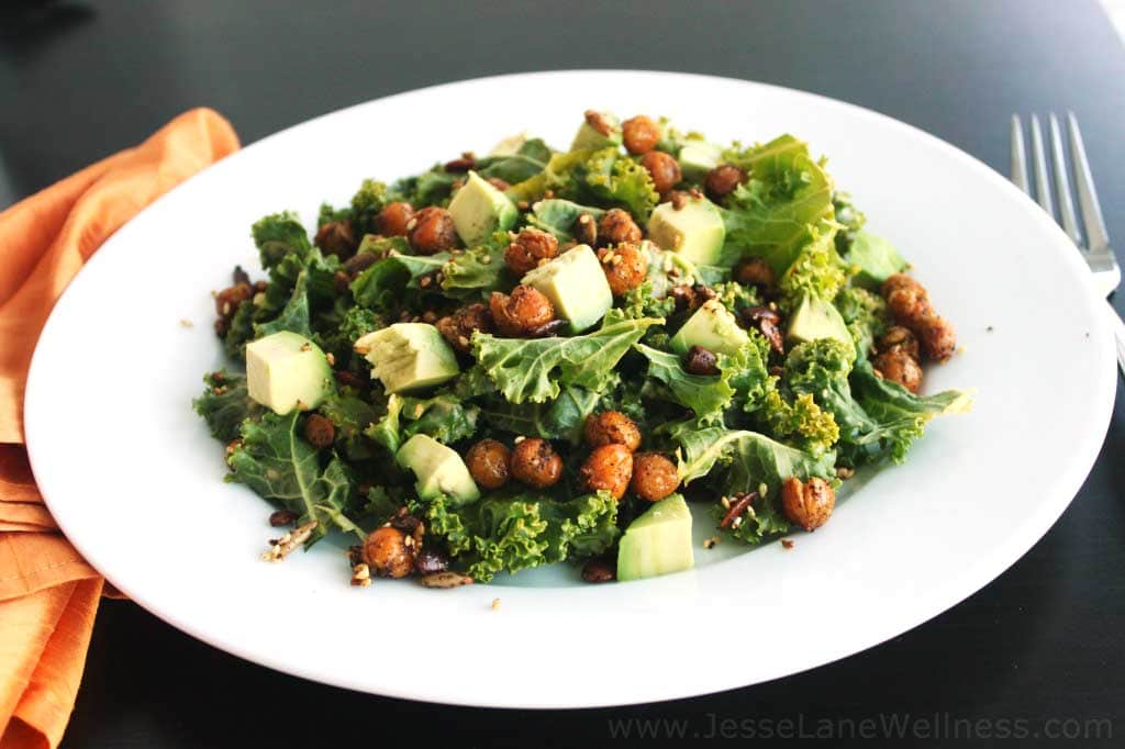 Kale Salad with Crispy Chickpeas by @JesseLWellness #glutenfree