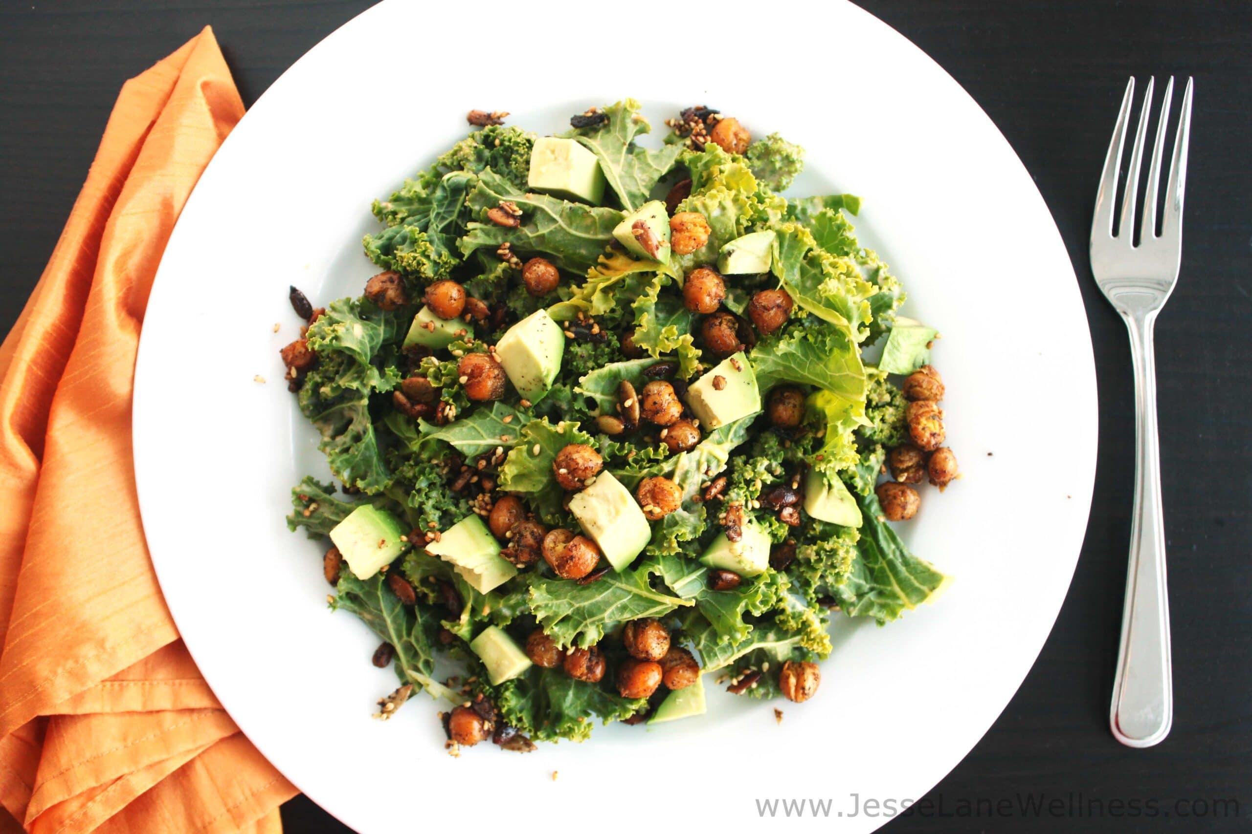 Kale Salad with Crispy Chickpeas by @JesseLWellness #kale