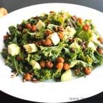 Kale Salad with Crispy Chickpeas by @JesseLWellness #salad