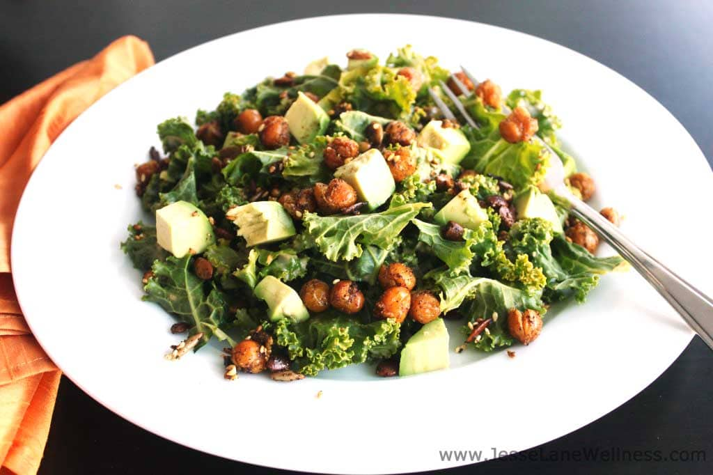 Kale Salad with Crispy Chickpeas by @JesseLWellness #salad