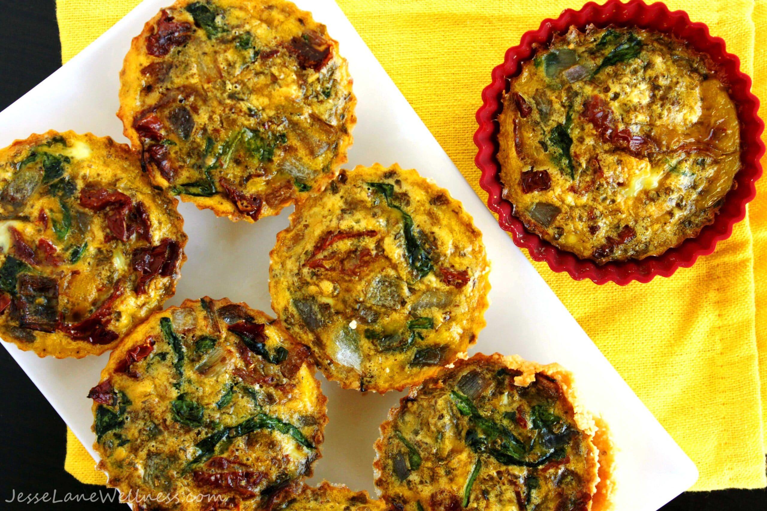 Mini Mediterranean Gluten Free Quiche @JesseLWellness #paleo
