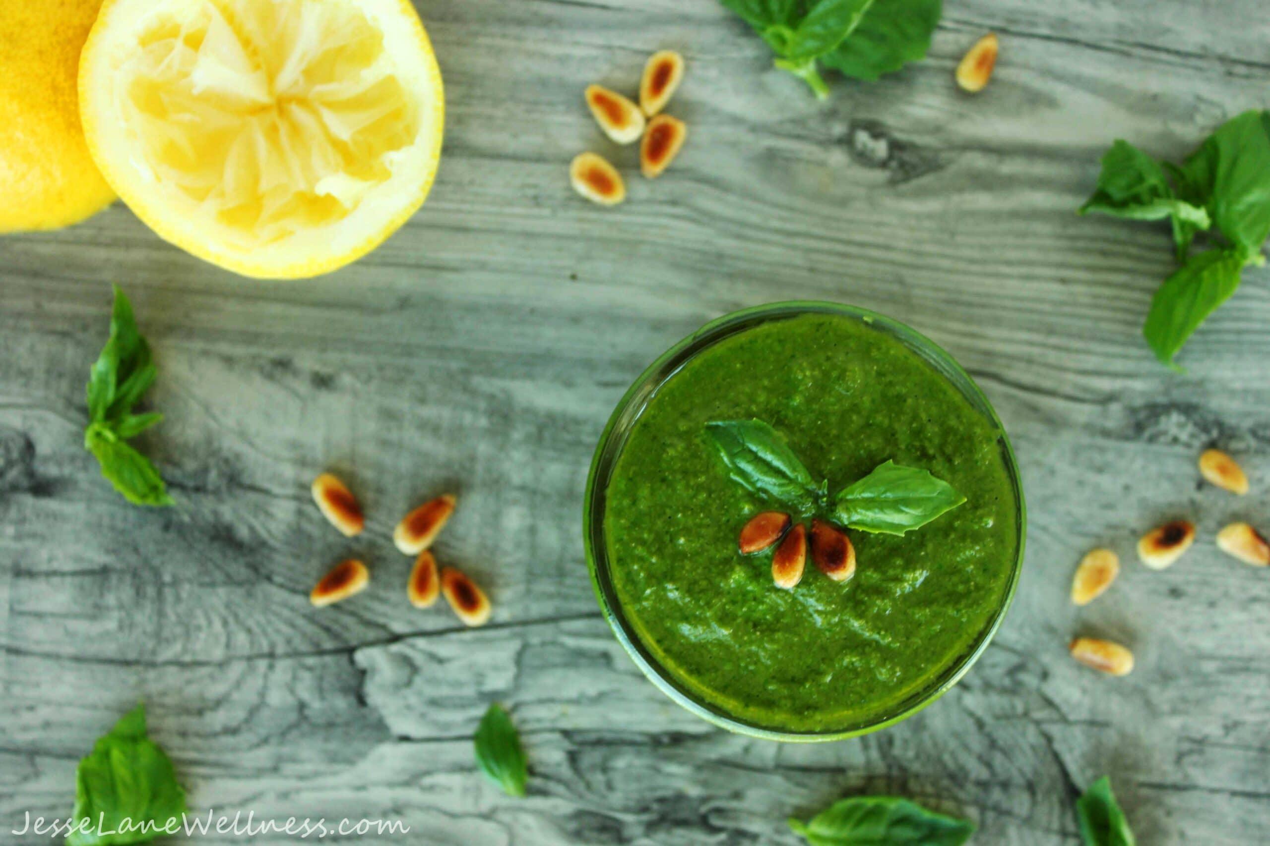 Pesto Primavera with Roasted Veggies by @JesseLWellness #pesto #vegan #dairyfree #nooch