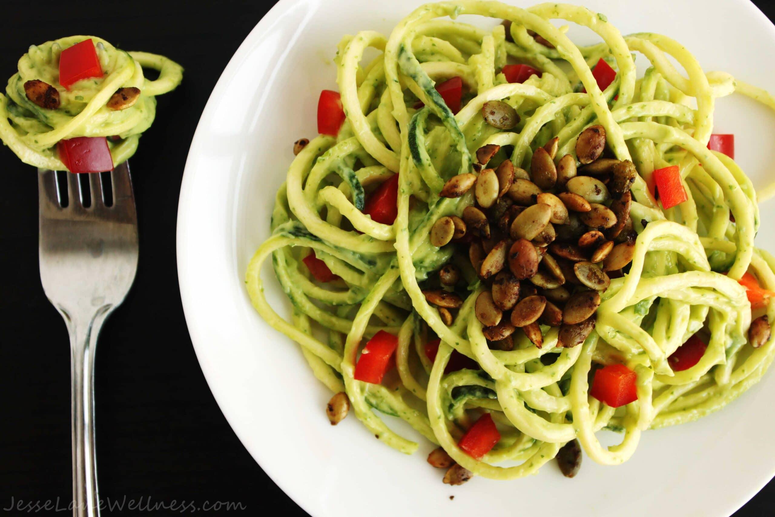 Summer Cilantro Zucchini Pasta by @JesseLWellness #glutenfree