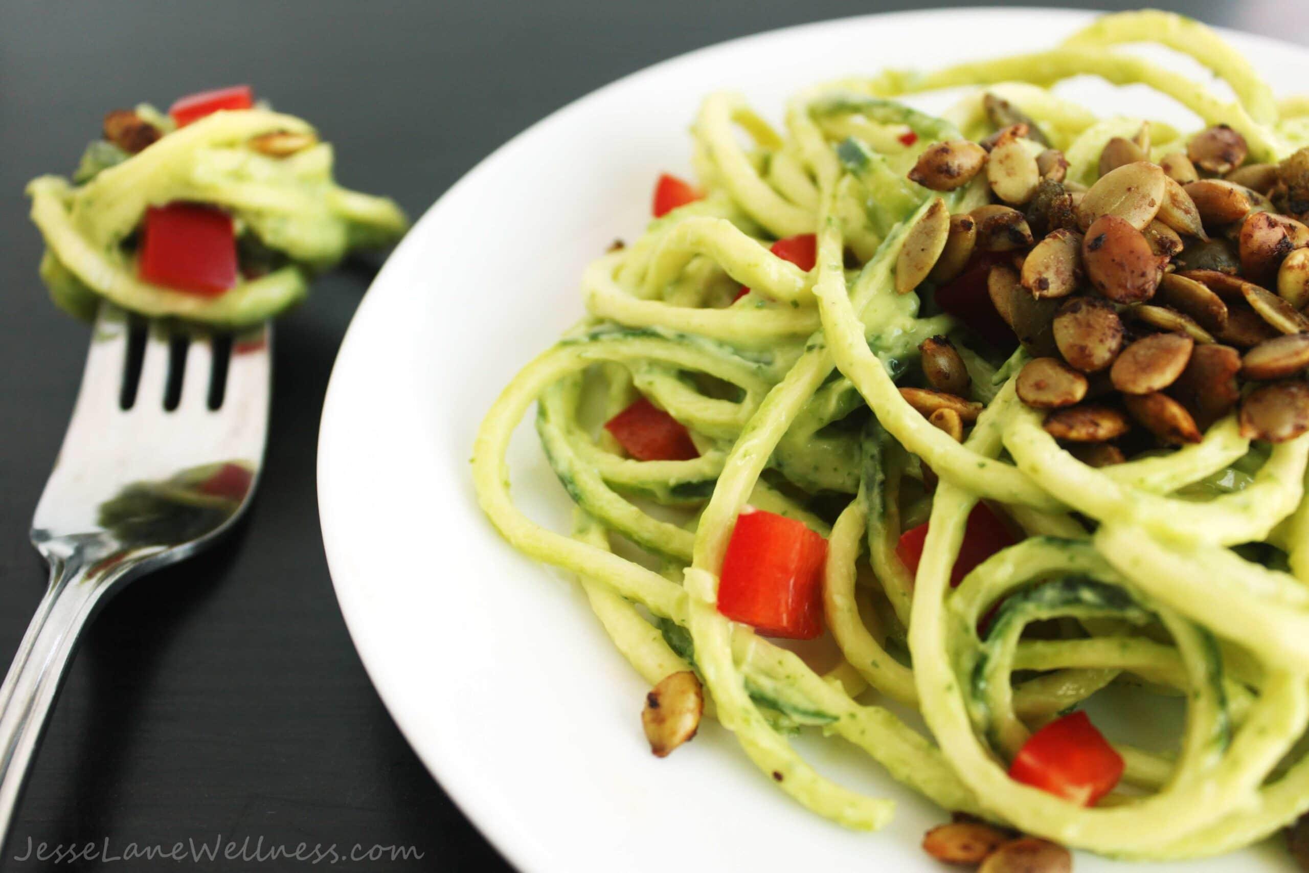 Summer Cilantro Zucchini Pasta by @JesseLWellness #zucchini