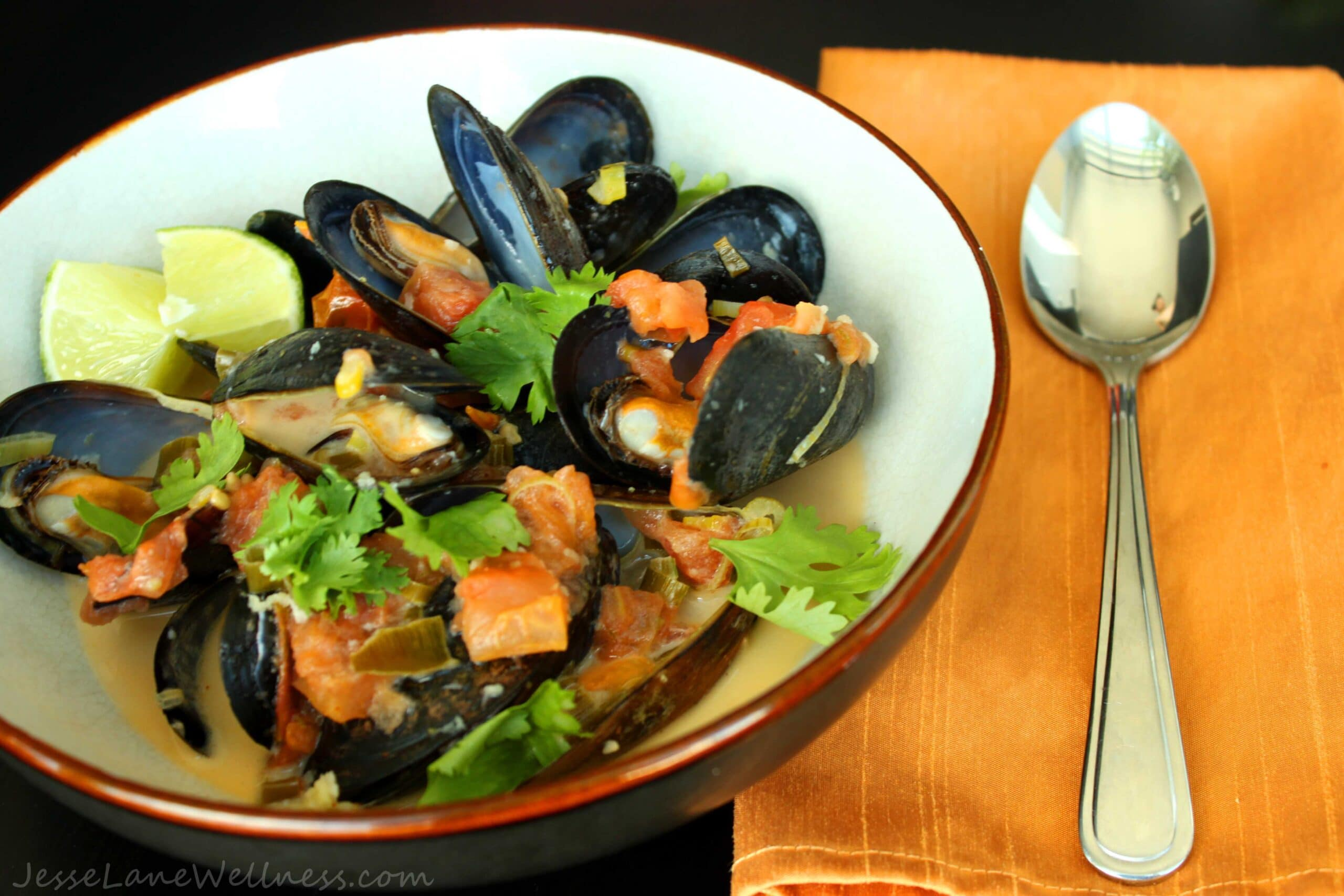 Thai Coconut Mussels by @JesseLWellness #mussels