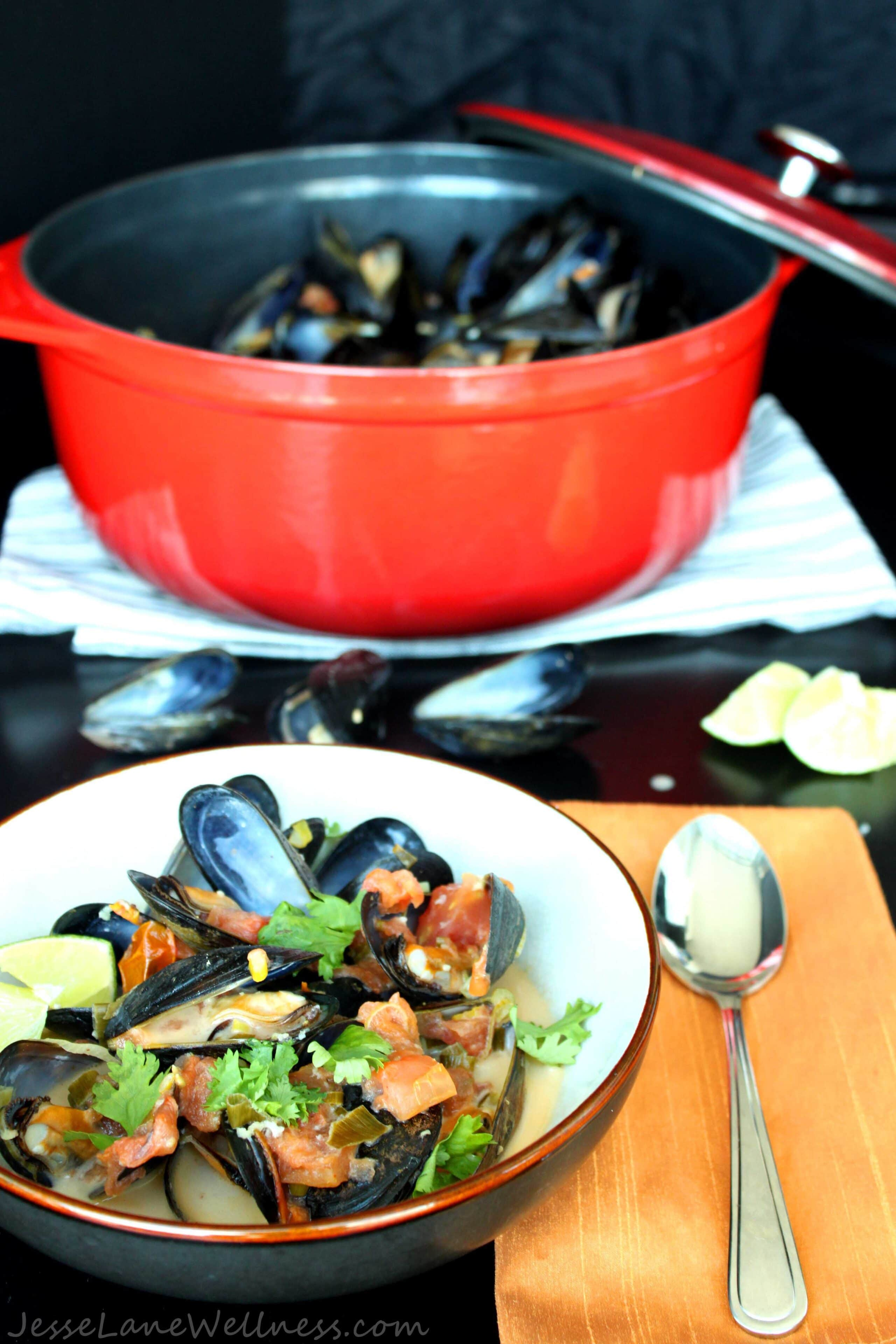 Thai Coconut Mussels by @JesseLWellness #Thai