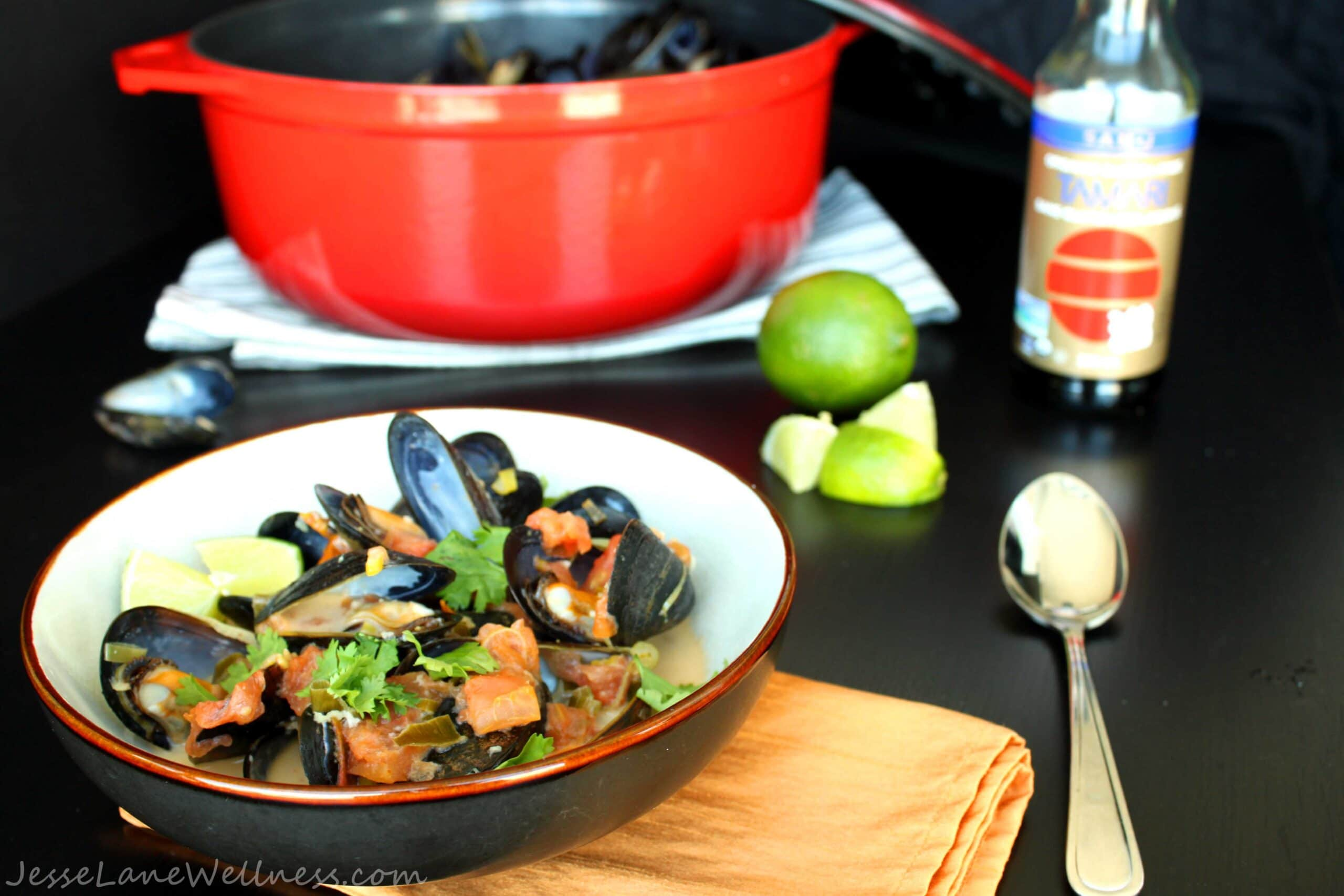 Thai Coconut Mussels by @JesseLWellness #glutenfree