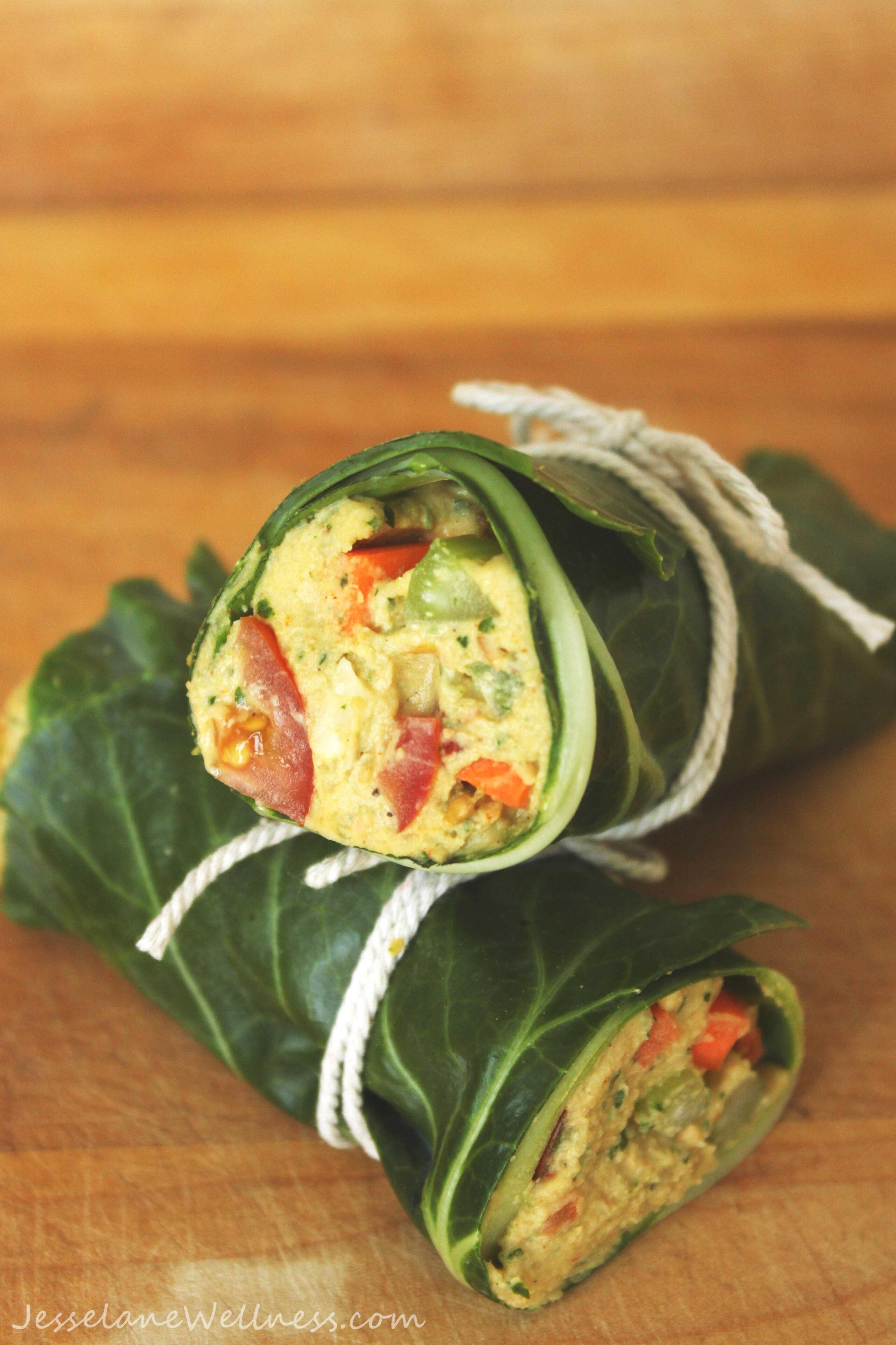 Falafel Hummus Collard Wraps by @jesselwellness #vegan
