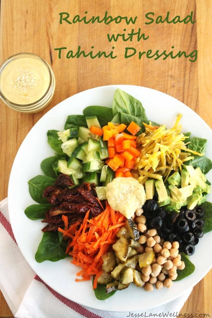 Rainbow Salad with Tahini Dressing by @jesselwellness #rainbow #vegan title