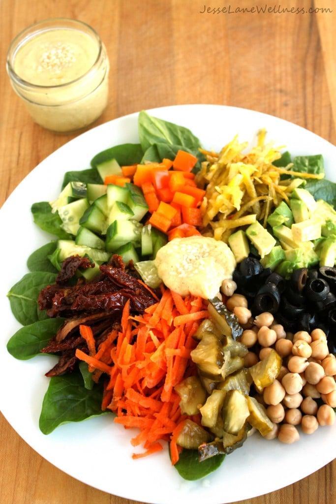 Rainbow Salad with Tahini Dressing by @jesselwellness #salad #tahini