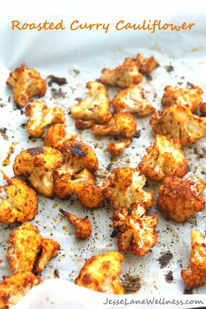 Roasted Curry Cauliflower by @jesselwellness title #cauliflower #curry