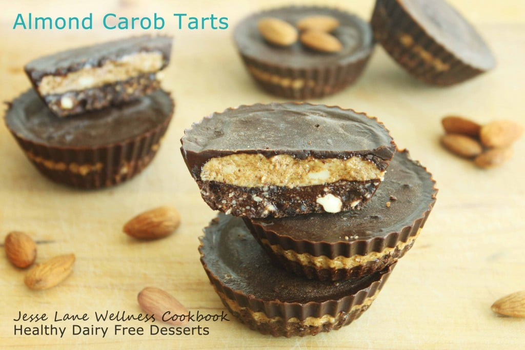Carob Almond Tarts from Jesse Lane Wellness Cookbook Healthy Dairy Free Desserts by @jesselwellness #jlwdairyfreedesserts