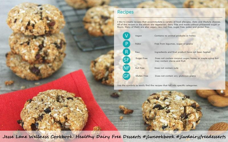 Jesse Lane Wellness Cookbook Healthy Dairy Free Desserts Symbols