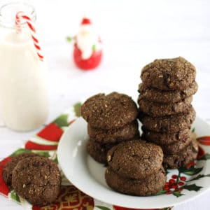 Double Chocolate Peppermint Cookies Square by @jesselwellness #cookies #chocolate