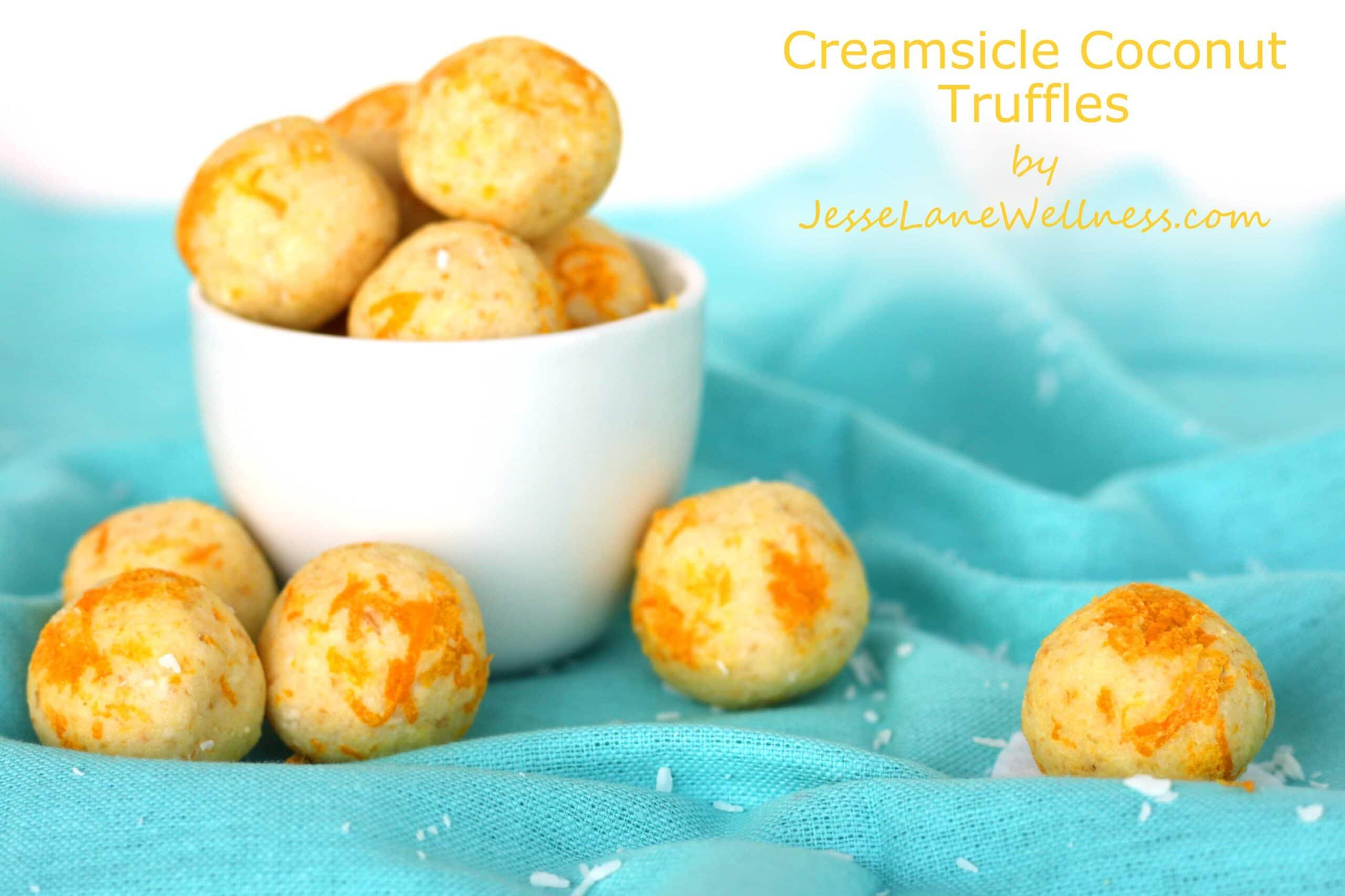 Creamsicle Coconut Truffles by @jesselwellness #coconut #truffles