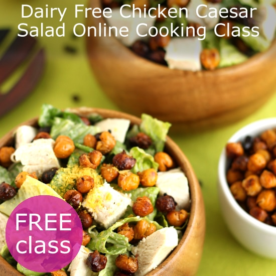 dairy-free chicken caesar salad live online cooking class with @jesselwellness #caesaesalad