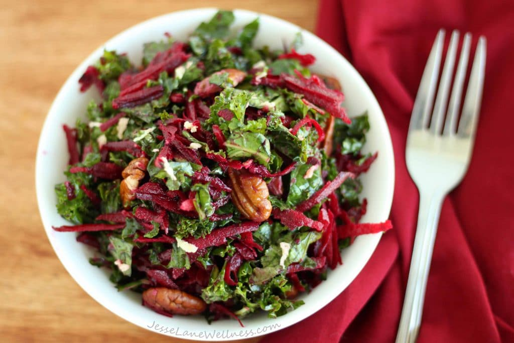 Kale Beet Salad with Ginger Dressing by @jesselwellness #freshsalad #ginger
