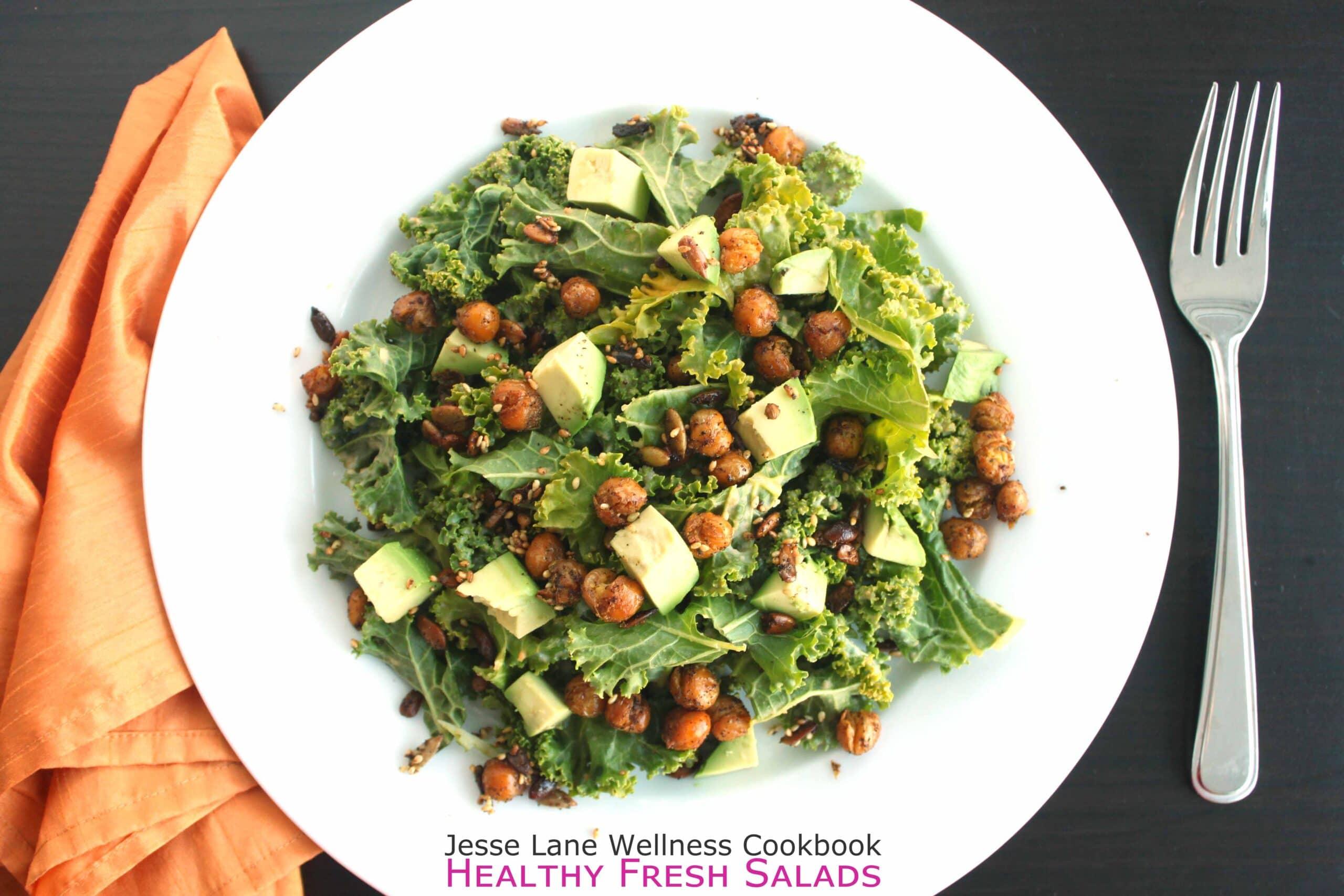 Kale Salad with Crispy Chickpeas from @jesselwellness cookbook Healthy Fresh Salads #kale
