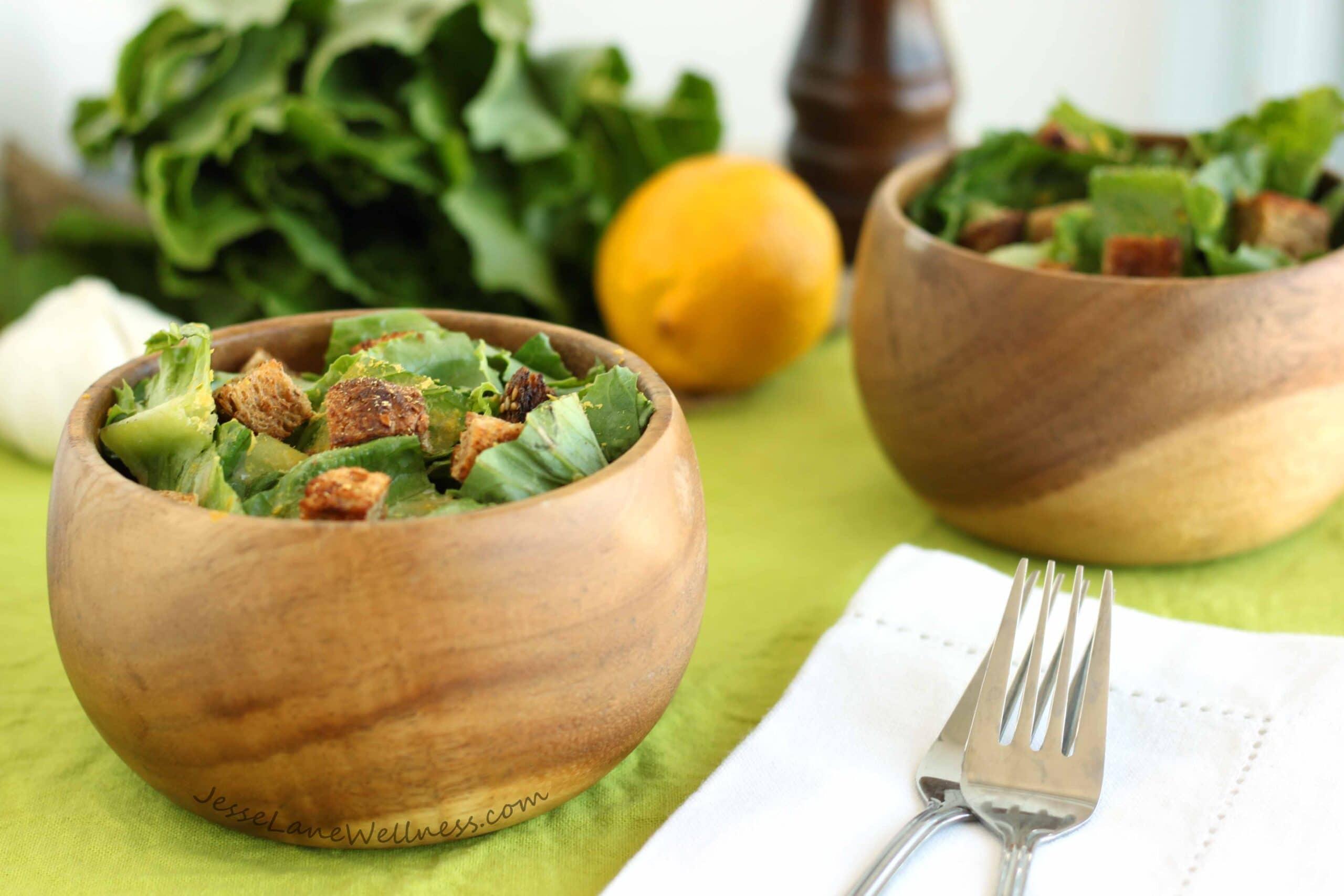 Slimmed-down Caesar Salad by @jesselwellness #freshsalad #caesarsalad