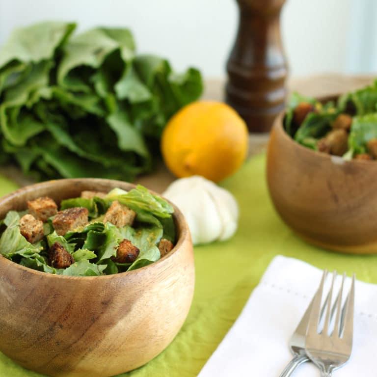 Slimmed-down Caesar Salad by @jesselwellness #saladtime #caesarsalad