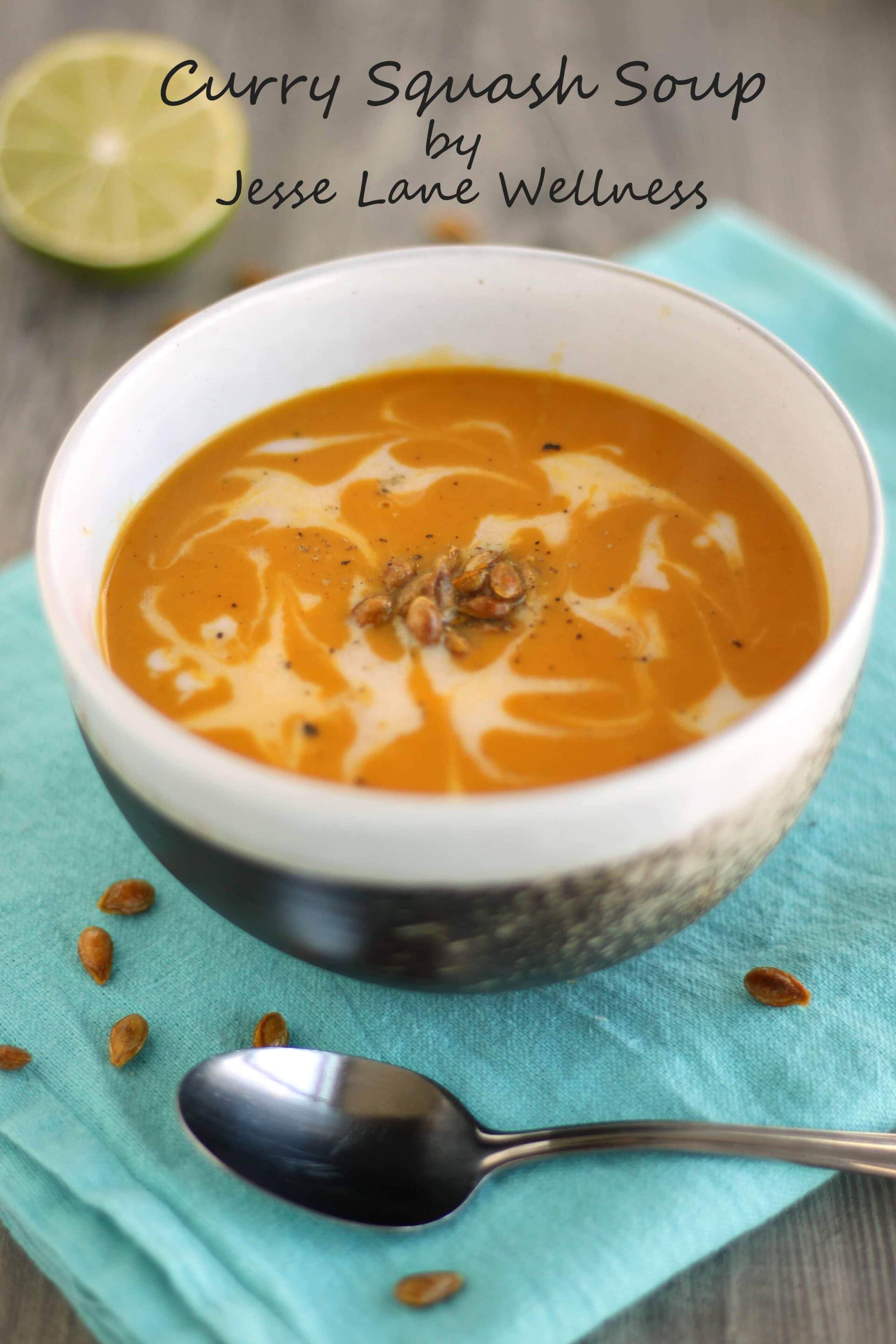 Curry Kabocha Squash Soup by @jesselwellness #homemadesoup #curry