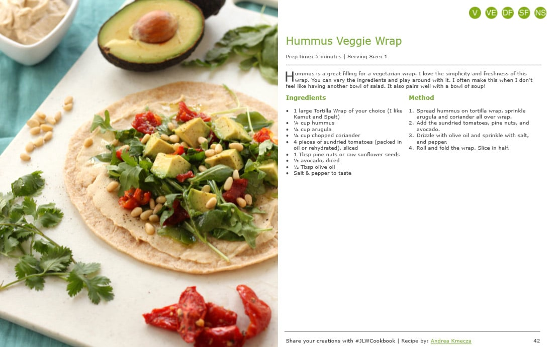 Hummus Veggie Wrap from Healthy Homemade Soups and Sandwiches by @jesselwellness #jlwcookbook #vegan