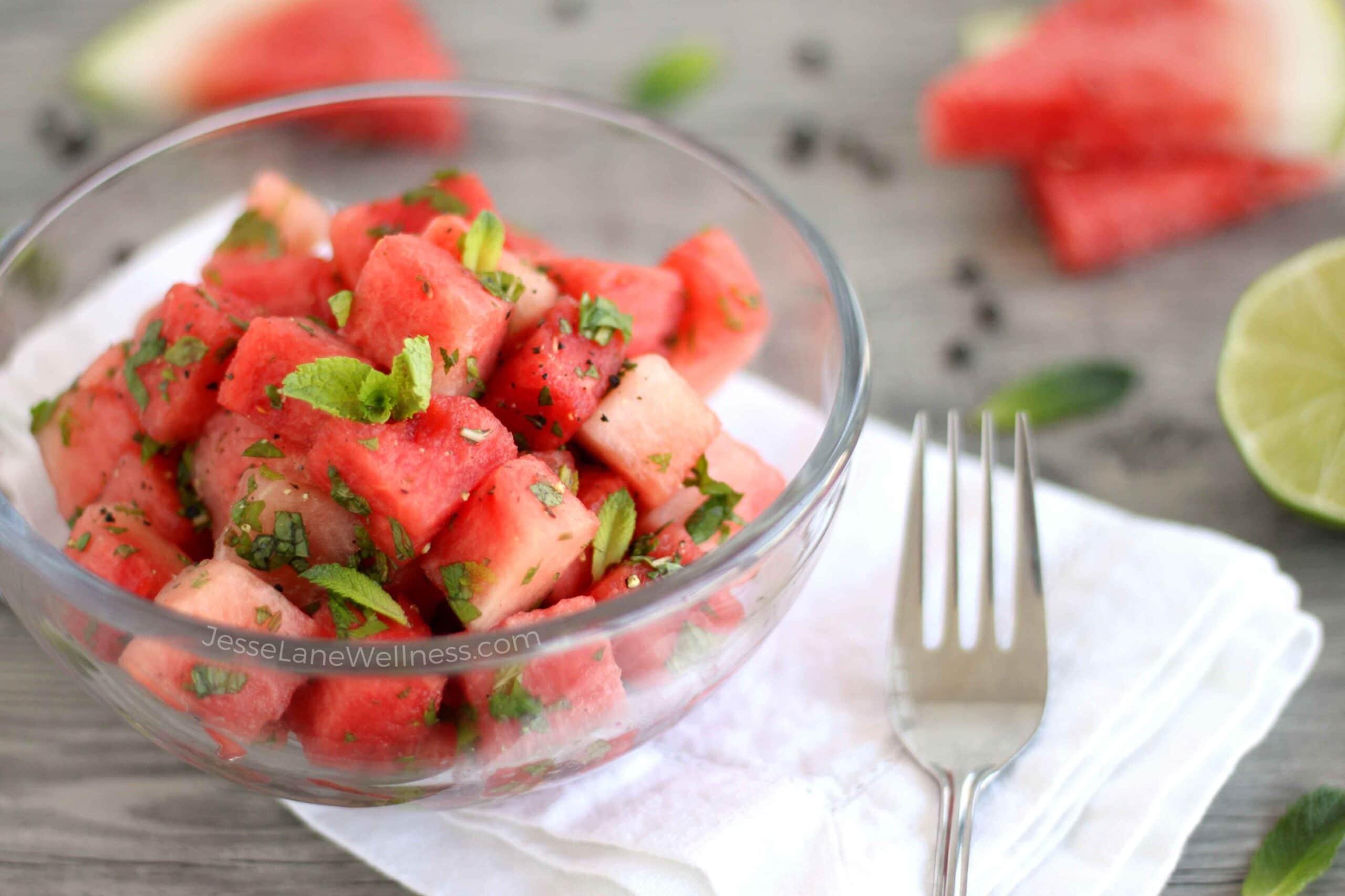 Savoury Watermelon Salad by @jesselwellness #watermelon #freshsalad