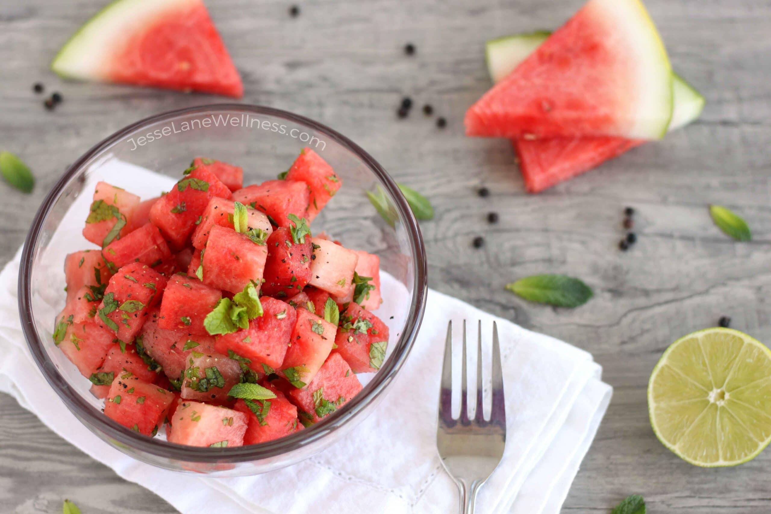 Savoury Watermelon Salad by @jesselwellness #watermelonsalad #healthysalad