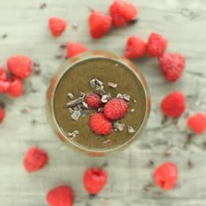 Chocolate Raspberry Smoothie by @jesselwellness #healthysmoothie #breakfast