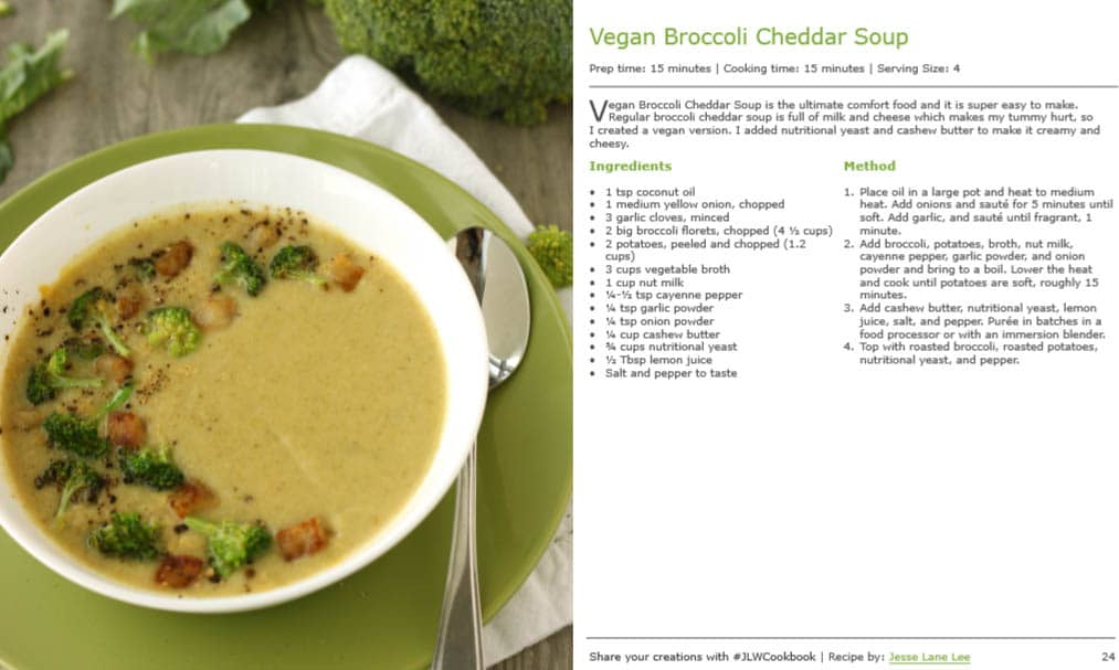 Vegan Broccoli Cheddar Soup from Healthy Homemade Soups and Sandwiches