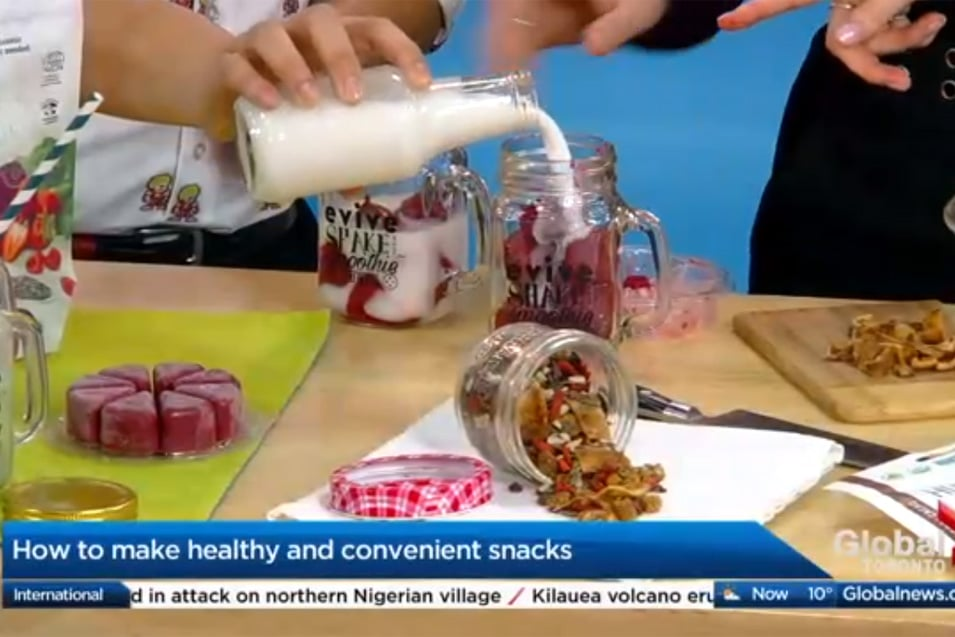 Healthy Convenient Snack with @jesselwellness and Evive Smoothie Cubes on Global TV