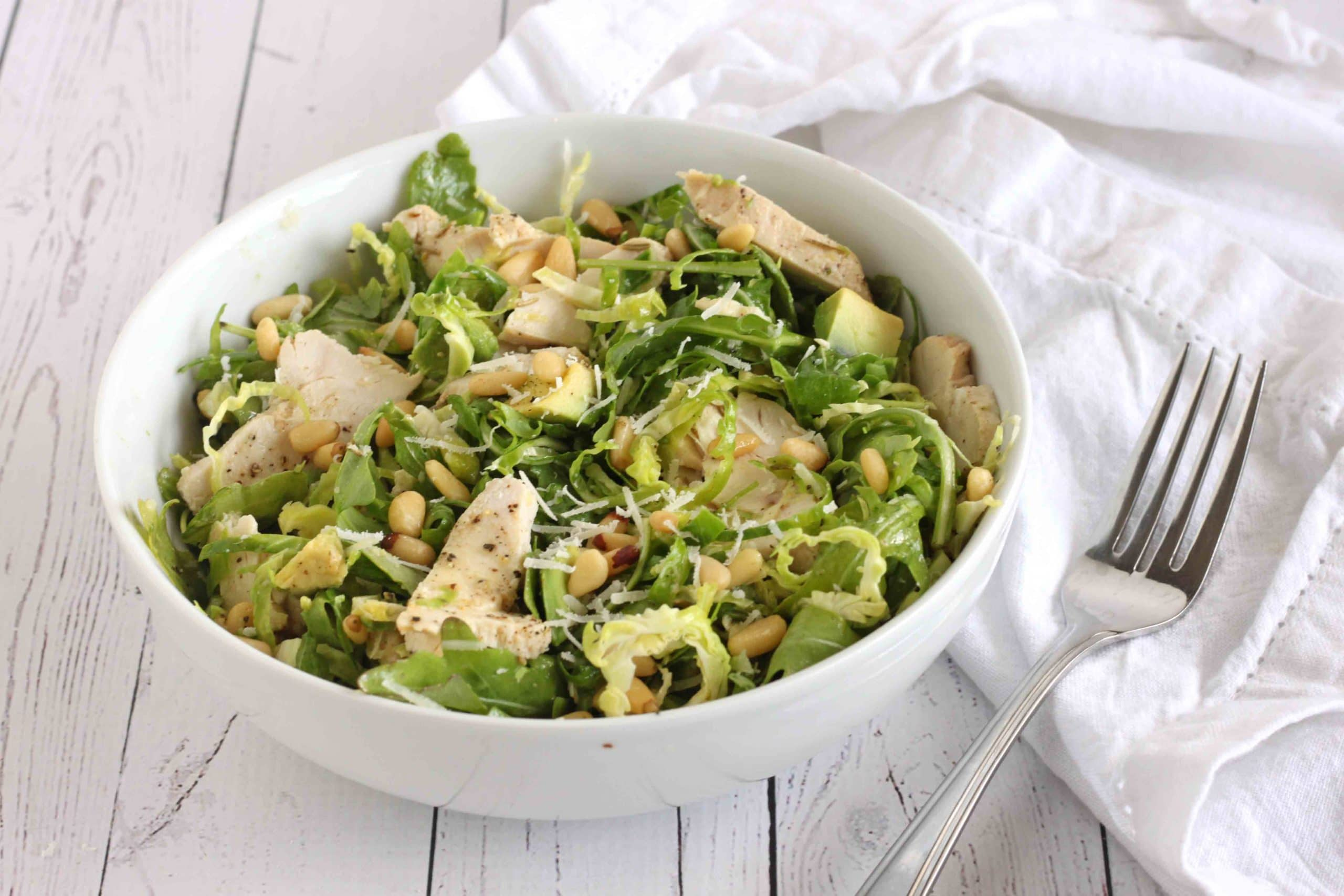 Rocket Chicken Brussels Sprout Salad by @jesselwellness #chickensalad