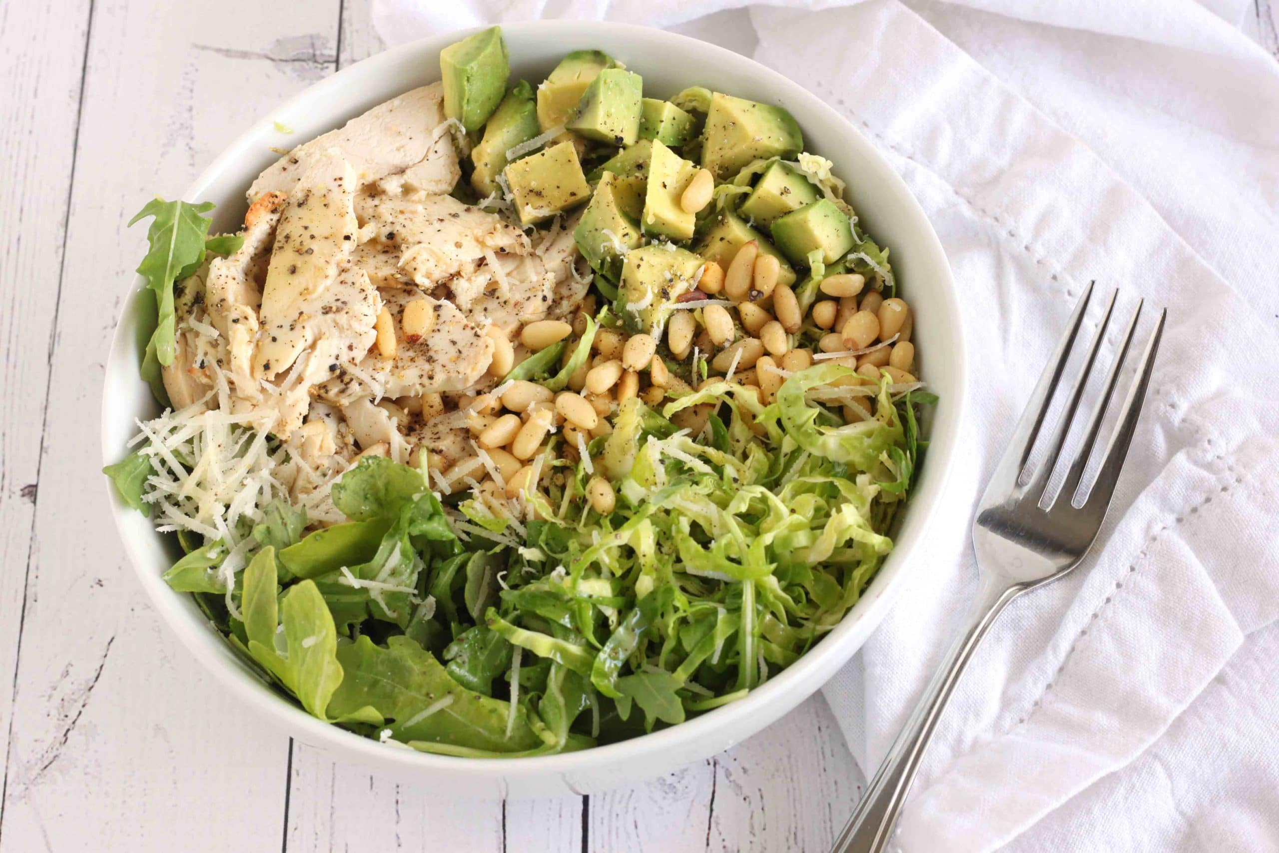 Rocket Chicken Brussels Sprout Salad by @jesselwellness #rocketsalad