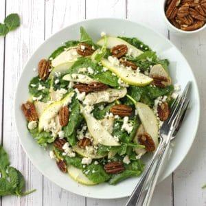 Pear and Pecan Kale Salad by Jesse Lane Lee #pecankalesalad