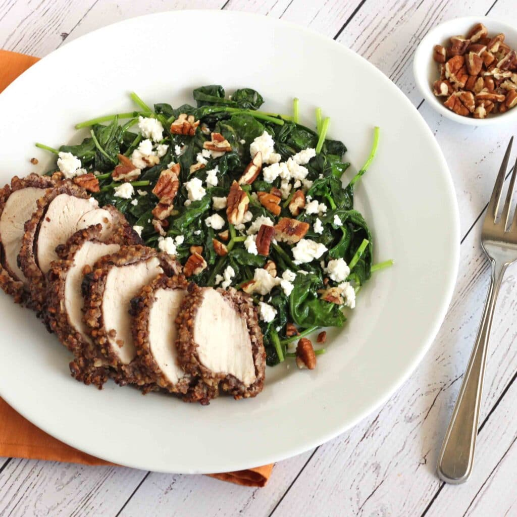 Crunchy Pecan Chicken with Sautéed Ginger Kale by @jesselwellness