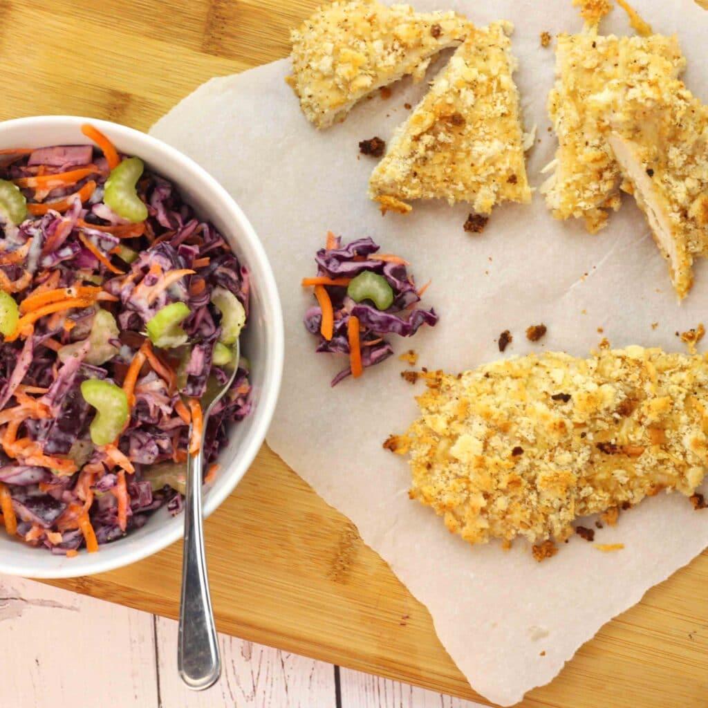Crispy Baked Chicken and Purple Slaw by @jesselwellness
