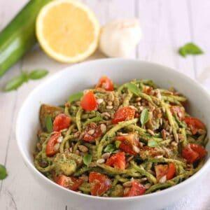 Sunflower Zucchini Pesto Pasta by Jesse Lane Wellness